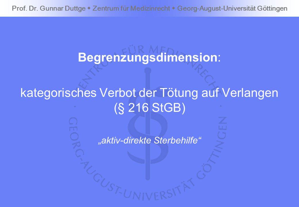Begrenzungsdimension: kategorisches Verbot der Tötung auf Verlangen (§ 216 StGB) aktiv-direkte Sterbehilfe Prof. Dr. Gunnar Duttge Zentrum für Medizin