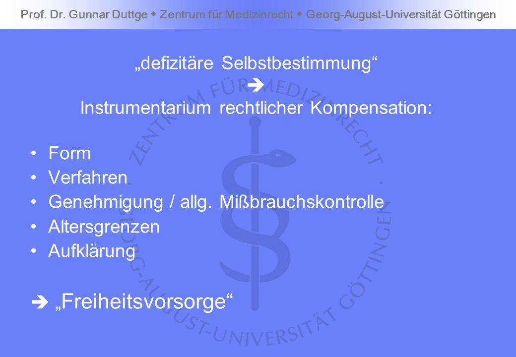 defizitäre Selbstbestimmung Instrumentarium rechtlicher Kompensation: Form Verfahren Genehmigung / allg. Mißbrauchskontrolle Altersgrenzen Aufklärung