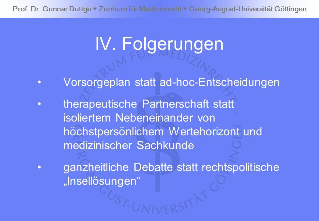 IV. Folgerungen Vorsorgeplan statt ad-hoc-Entscheidungen therapeutische Partnerschaft statt isoliertem Nebeneinander von höchstpersönlichem Wertehoriz