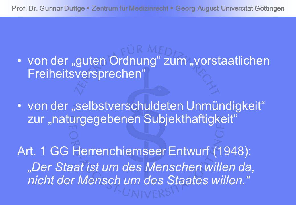 von der guten Ordnung zum vorstaatlichen Freiheitsversprechen von der selbstverschuldeten Unmündigkeit zur naturgegebenen Subjekthaftigkeit Art. 1 GG