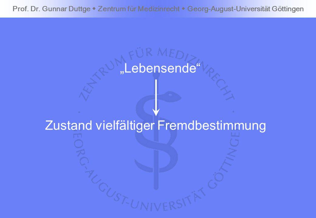 Lebensende Prof. Dr. Gunnar Duttge Zentrum für Medizinrecht Georg-August-Universität Göttingen Zustand vielfältiger Fremdbestimmung