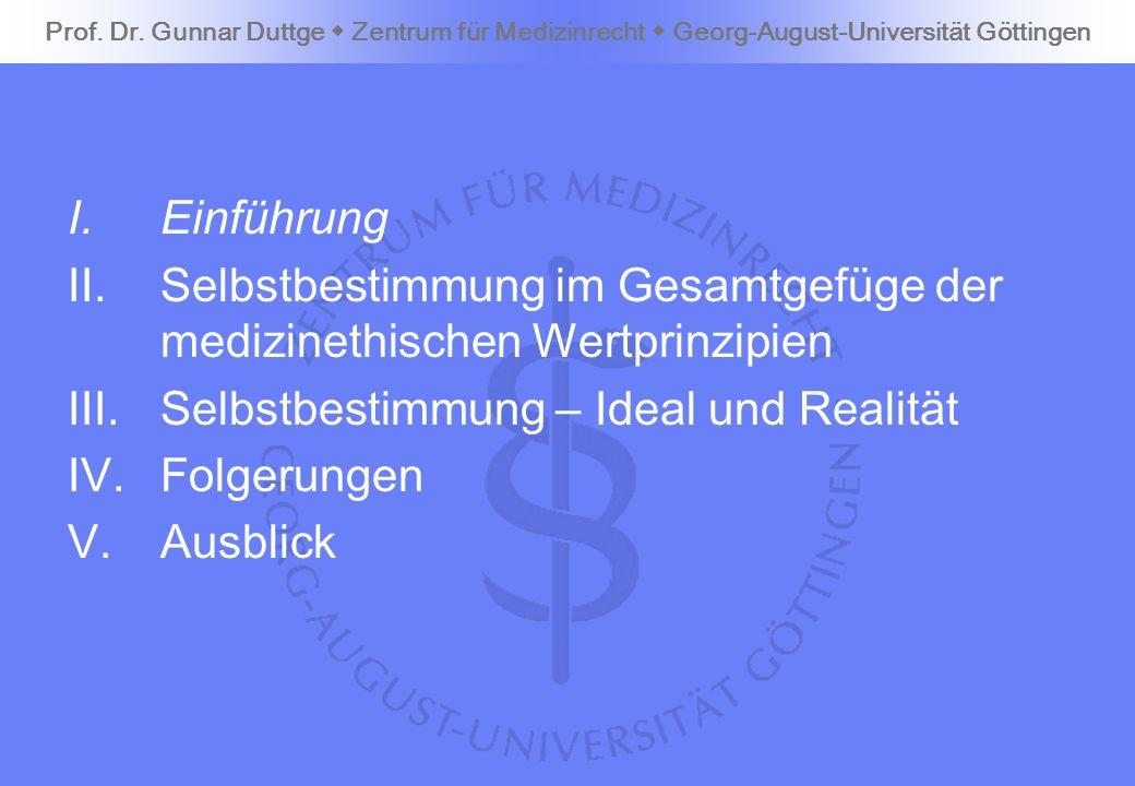 I.Einführung II.Selbstbestimmung im Gesamtgefüge der medizinethischen Wertprinzipien III.Selbstbestimmung – Ideal und Realität IV.Folgerungen V.Ausbli