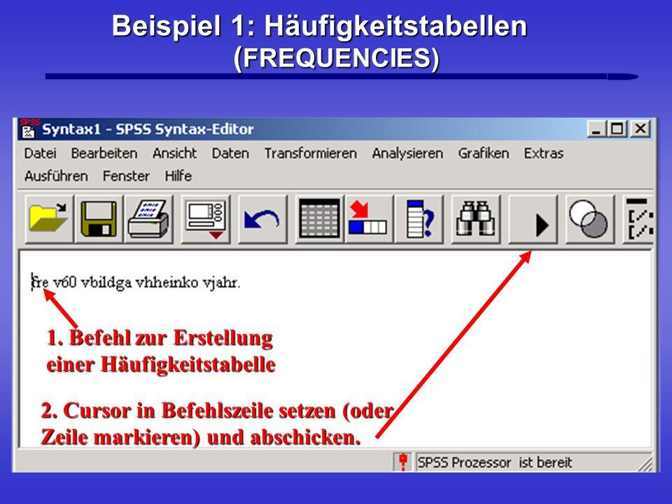 Beispiel 1: Häufigkeitstabellen ( FREQUENCIES) 2. Cursor in Befehlszeile setzen (oder Zeile markieren) und abschicken. 1. Befehl zur Erstellung einer