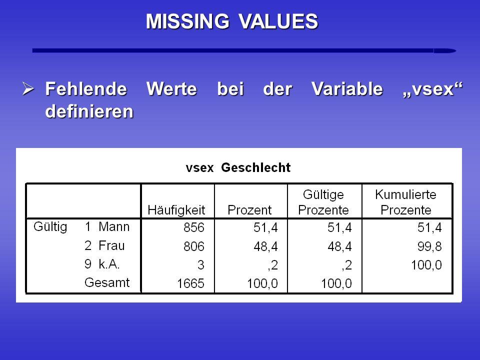 Fehlende Werte bei der Variable vsex definieren Fehlende Werte bei der Variable vsex definieren