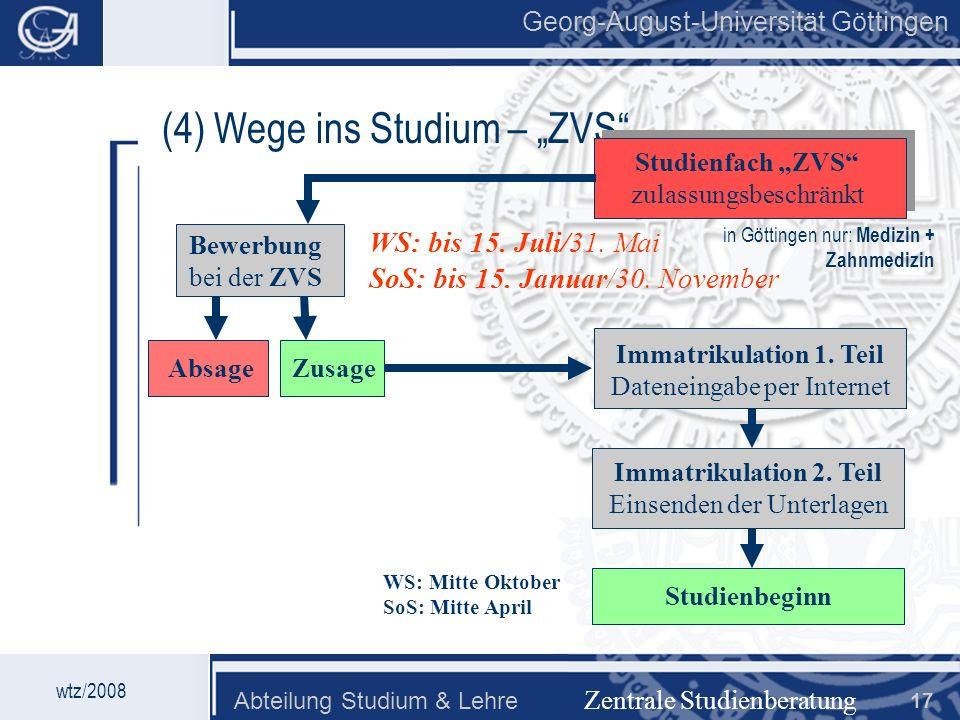 Georg-August-Universität Göttingen Abteilung Studium & Lehre 17 Georg-August-Universität Göttingen (4) Wege ins Studium – ZVS Zentrale Studienberatung