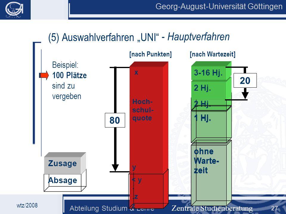 Georg-August-Universität Göttingen Abteilung Studium & Lehre 27 80 Georg-August-Universität Göttingen (5) Auswahlverfahren UNI Zentrale Studienberatun