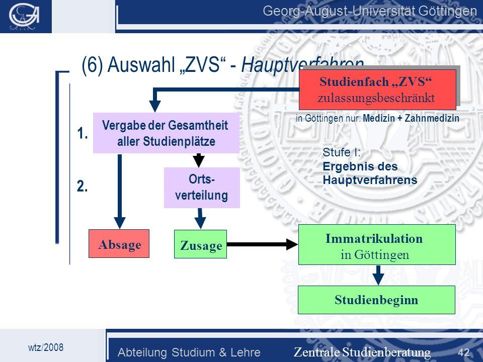 Georg-August-Universität Göttingen Abteilung Studium & Lehre 42 Georg-August-Universität Göttingen (6) Auswahl ZVS - Hauptverfahren Zentrale Studienbe