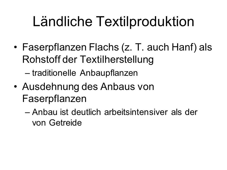 Ländliche Textilproduktion Faserpflanzen Flachs (z. T. auch Hanf) als Rohstoff der Textilherstellung –traditionelle Anbaupflanzen Ausdehnung des Anbau