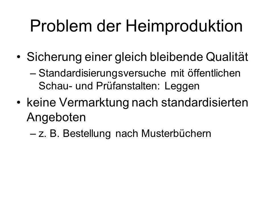 Problem der Heimproduktion Sicherung einer gleich bleibende Qualität –Standardisierungsversuche mit öffentlichen Schau- und Prüfanstalten: Leggen kein