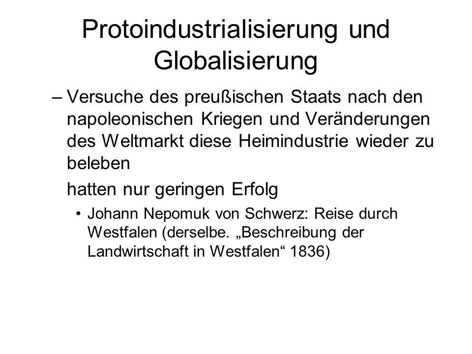 Protoindustrialisierung und Globalisierung –Versuche des preußischen Staats nach den napoleonischen Kriegen und Veränderungen des Weltmarkt diese Heim