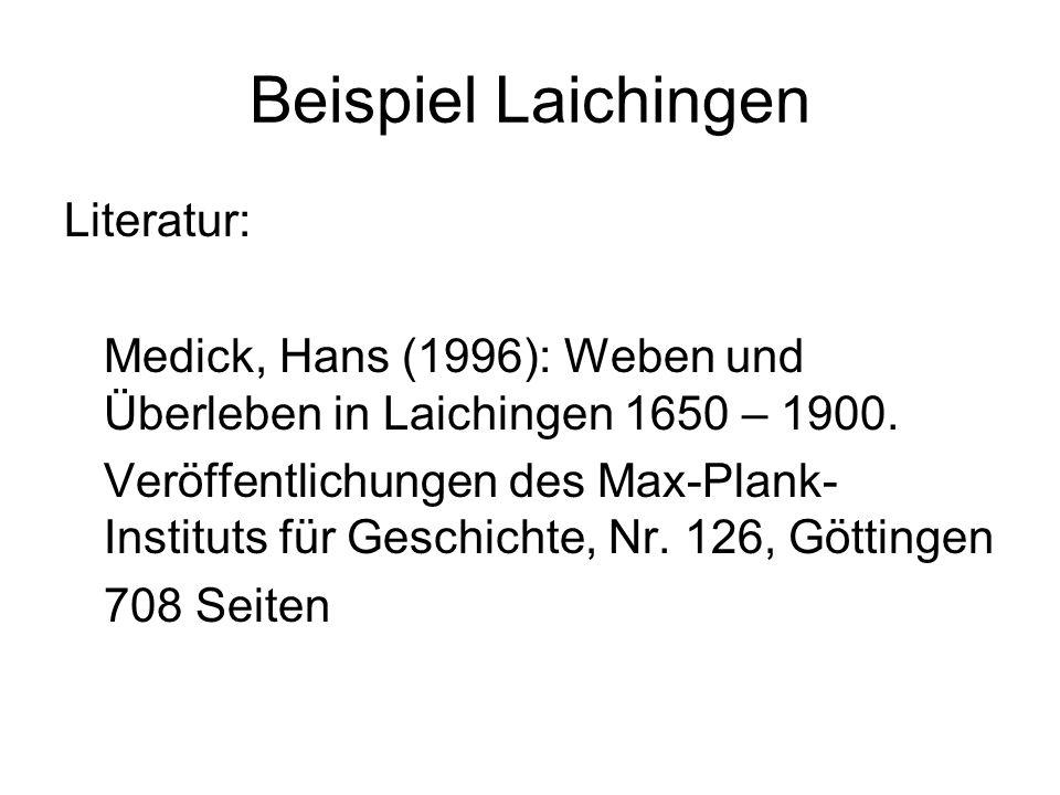 Beispiel Laichingen Literatur: Medick, Hans (1996): Weben und Überleben in Laichingen 1650 – 1900. Veröffentlichungen des Max-Plank- Instituts für Ges