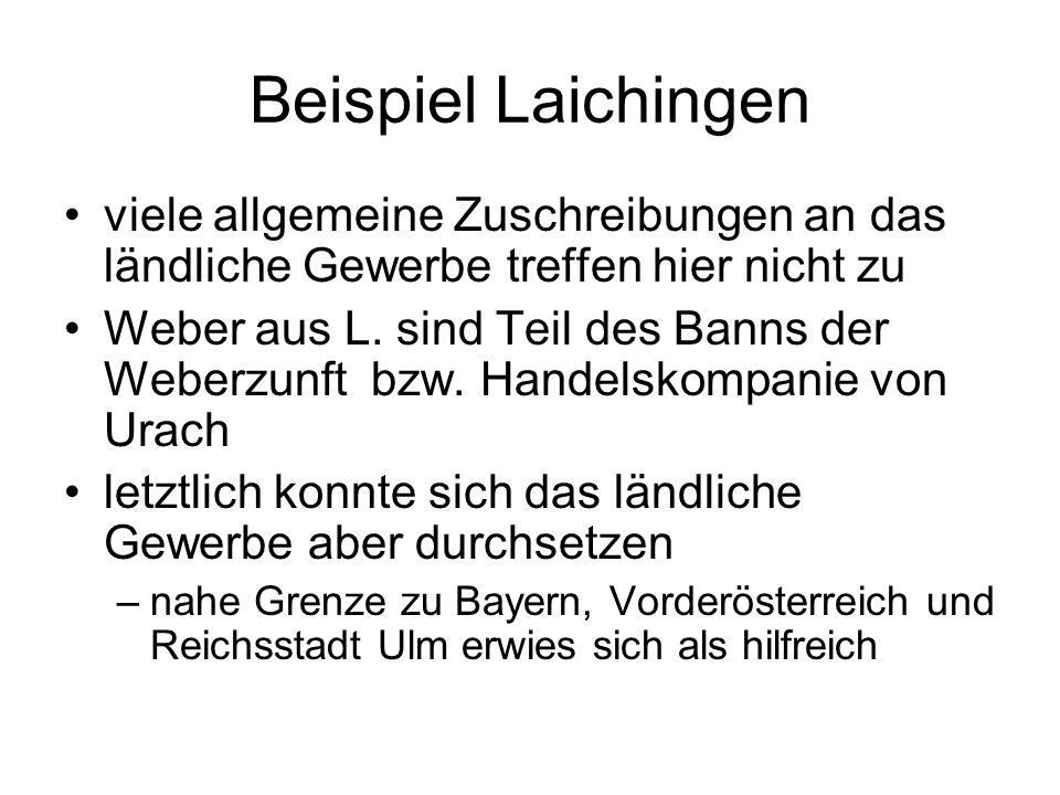 Beispiel Laichingen viele allgemeine Zuschreibungen an das ländliche Gewerbe treffen hier nicht zu Weber aus L. sind Teil des Banns der Weberzunft bzw