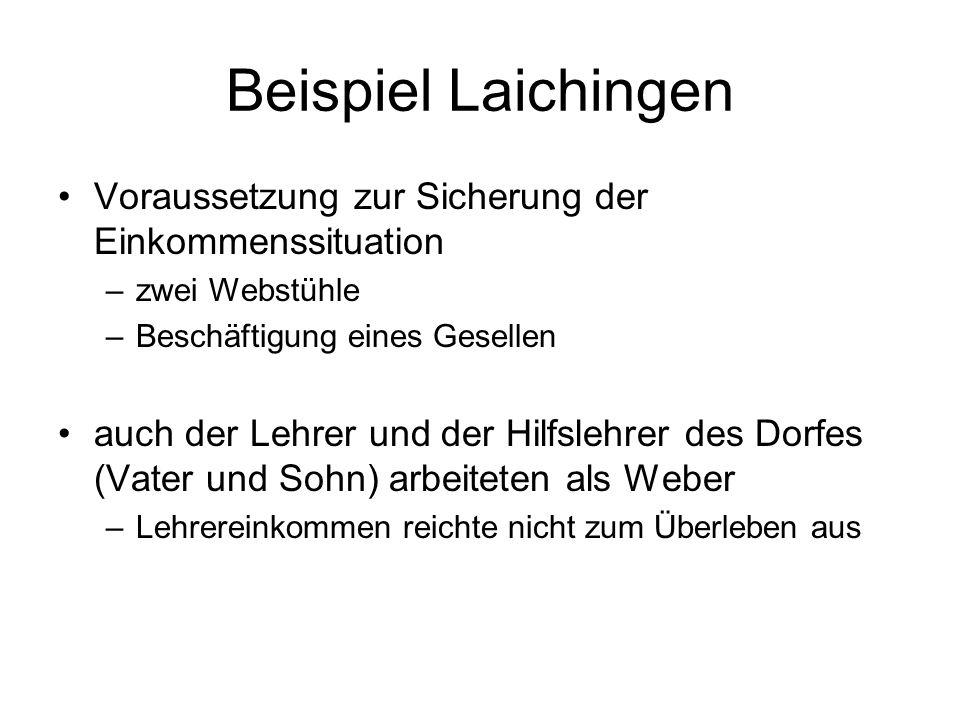 Beispiel Laichingen Voraussetzung zur Sicherung der Einkommenssituation –zwei Webstühle –Beschäftigung eines Gesellen auch der Lehrer und der Hilfsleh
