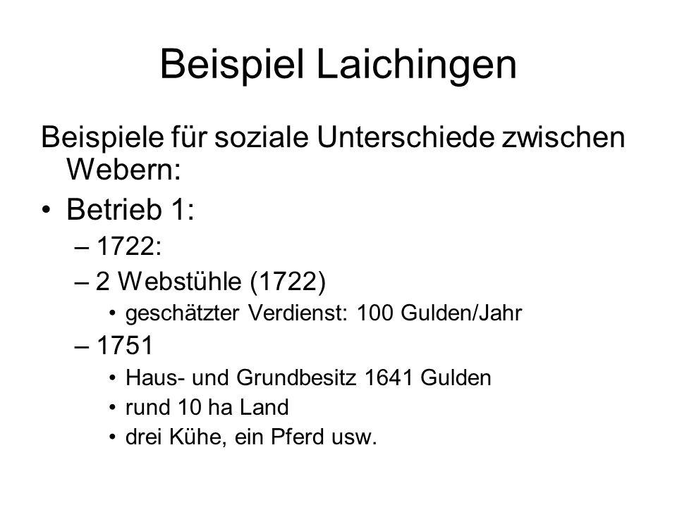 Beispiel Laichingen Beispiele für soziale Unterschiede zwischen Webern: Betrieb 1: –1722: –2 Webstühle (1722) geschätzter Verdienst: 100 Gulden/Jahr –