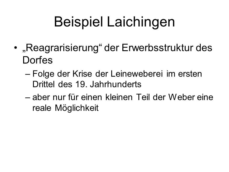 Beispiel Laichingen Reagrarisierung der Erwerbsstruktur des Dorfes –Folge der Krise der Leineweberei im ersten Drittel des 19. Jahrhunderts –aber nur