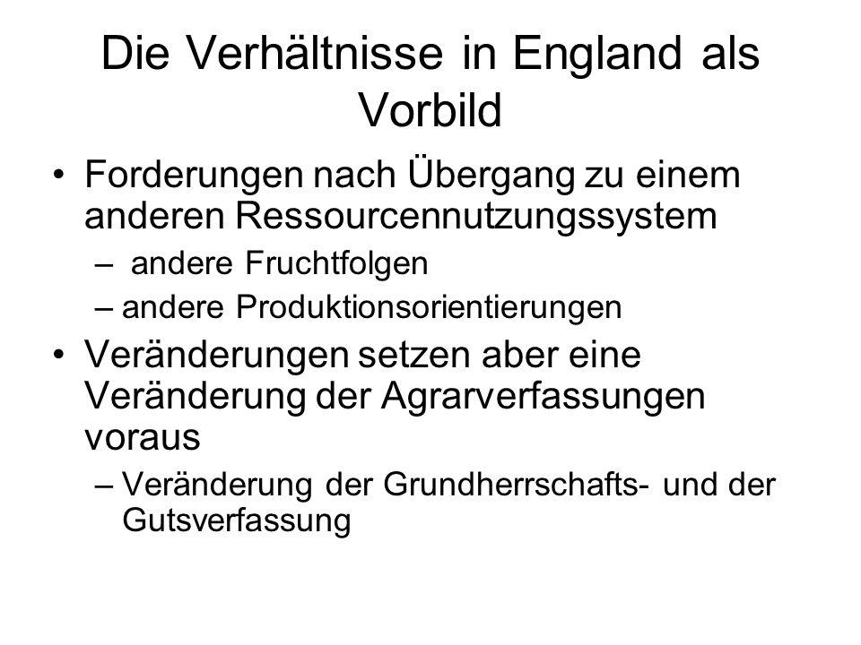 Die Verhältnisse in England als Vorbild Forderungen nach Übergang zu einem anderen Ressourcennutzungssystem – andere Fruchtfolgen –andere Produktionso
