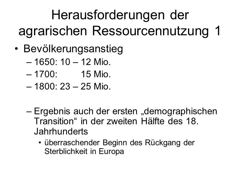 Herausforderungen der agrarischen Ressourcennutzung 1 Bevölkerungsanstieg –1650: 10 – 12 Mio. –1700: 15 Mio. –1800: 23 – 25 Mio. –Ergebnis auch der er