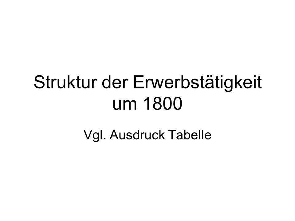 Struktur der Erwerbstätigkeit um 1800 Vgl. Ausdruck Tabelle