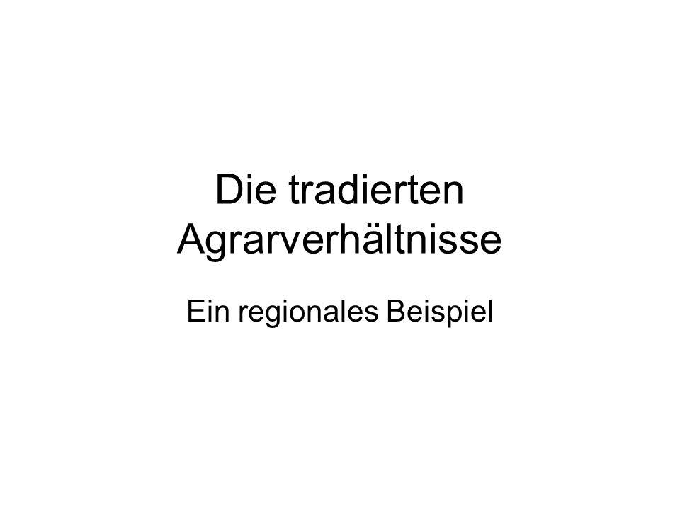 Die tradierten Agrarverhältnisse Ein regionales Beispiel