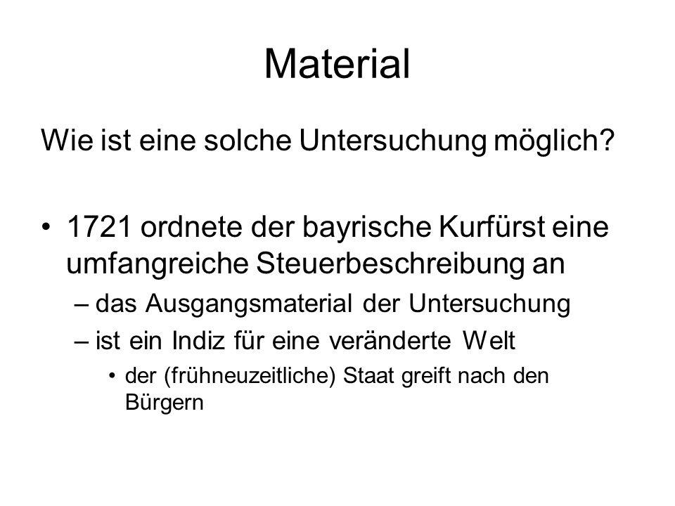 Material Wie ist eine solche Untersuchung möglich? 1721 ordnete der bayrische Kurfürst eine umfangreiche Steuerbeschreibung an –das Ausgangsmaterial d