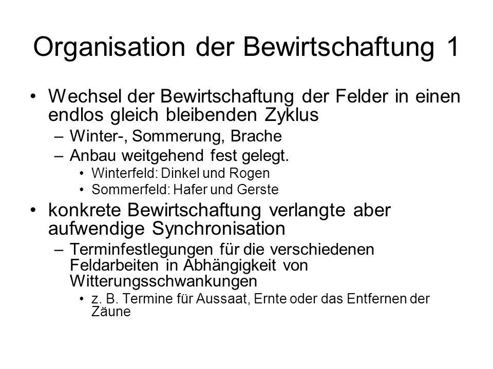 Organisation der Bewirtschaftung 1 Wechsel der Bewirtschaftung der Felder in einen endlos gleich bleibenden Zyklus –Winter-, Sommerung, Brache –Anbau