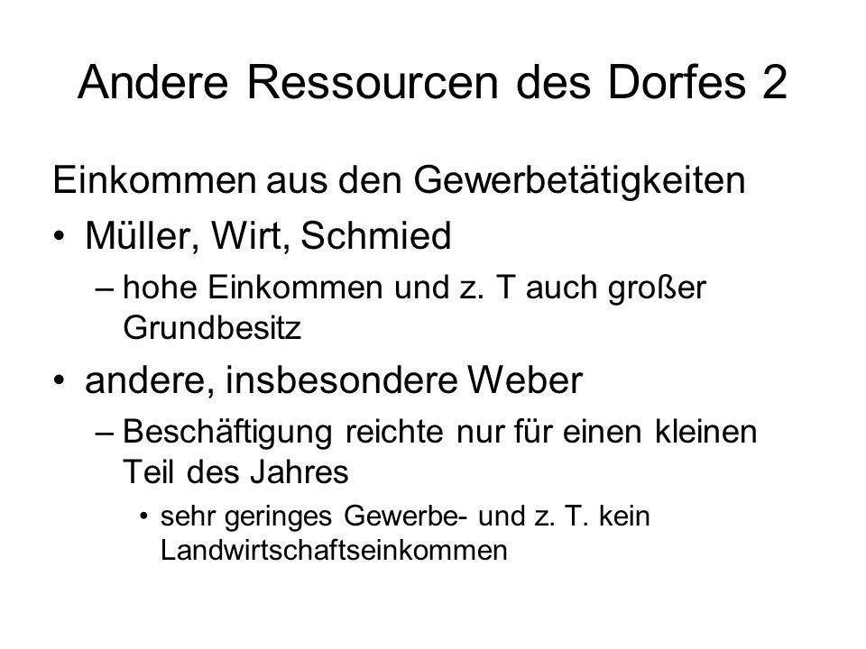 Andere Ressourcen des Dorfes 2 Einkommen aus den Gewerbetätigkeiten Müller, Wirt, Schmied –hohe Einkommen und z. T auch großer Grundbesitz andere, ins