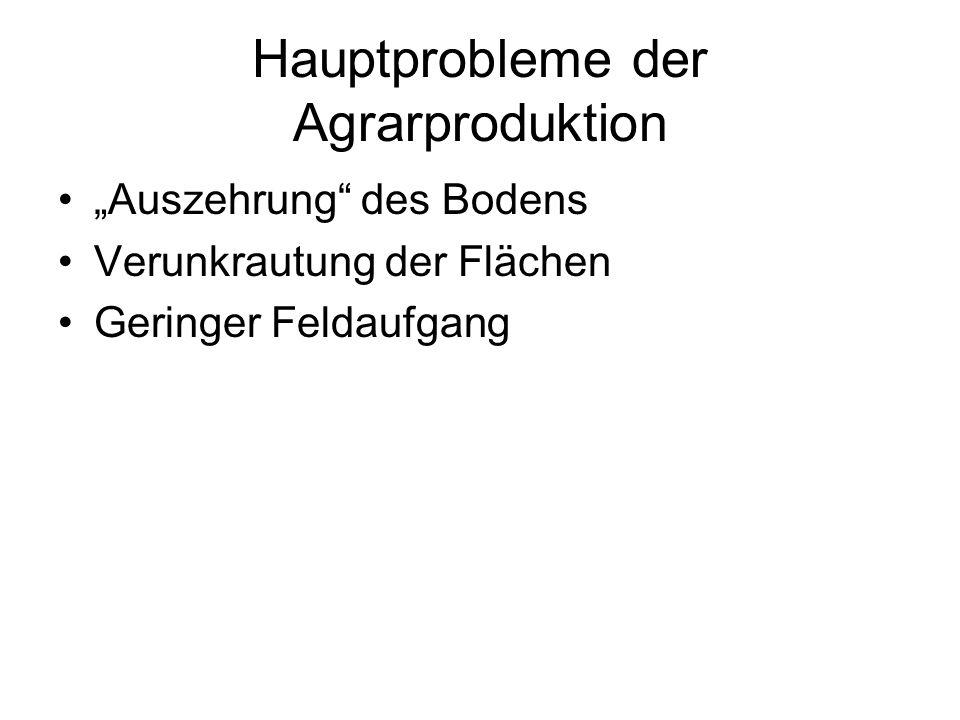 Hauptprobleme der Agrarproduktion Auszehrung des Bodens Verunkrautung der Flächen Geringer Feldaufgang
