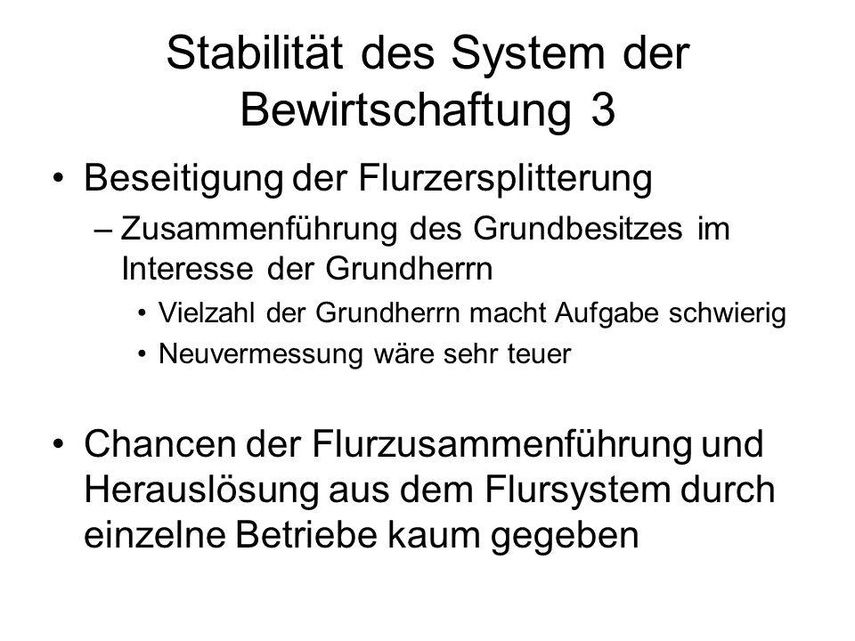 Stabilität des System der Bewirtschaftung 3 Beseitigung der Flurzersplitterung –Zusammenführung des Grundbesitzes im Interesse der Grundherrn Vielzahl