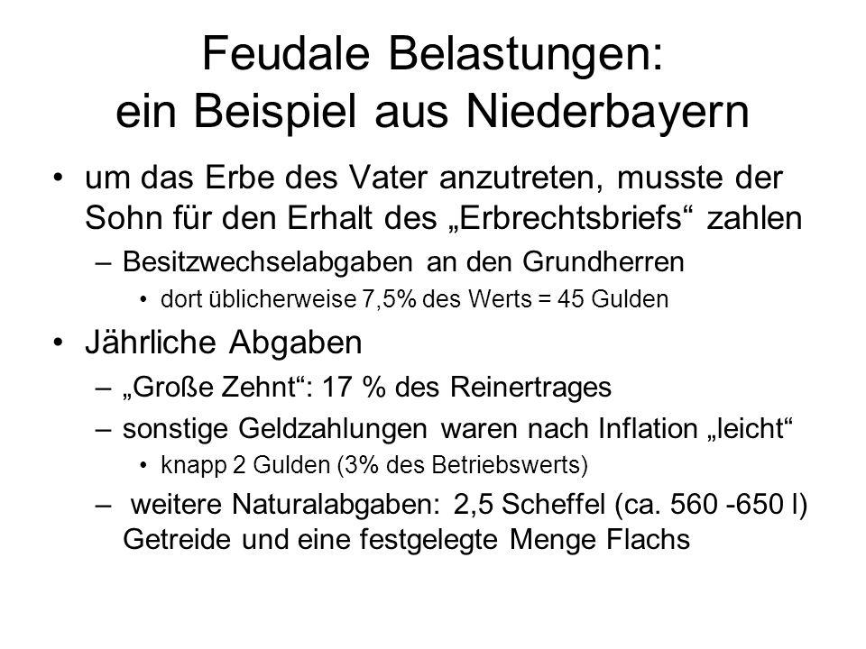 Feudale Belastungen: ein Beispiel aus Niederbayern um das Erbe des Vater anzutreten, musste der Sohn für den Erhalt des Erbrechtsbriefs zahlen –Besitz
