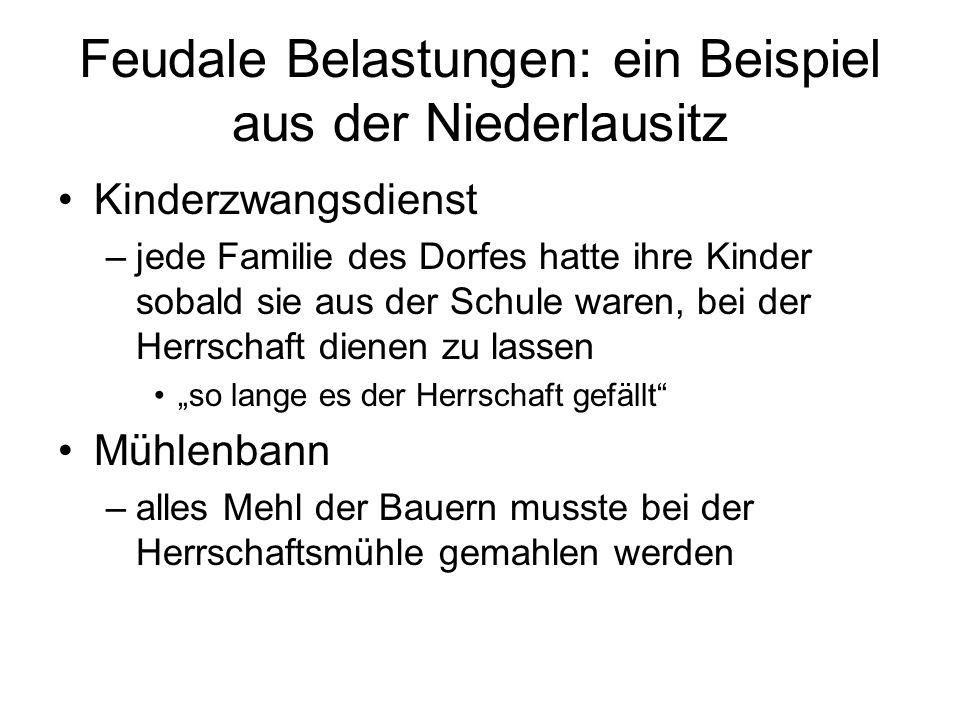 Feudale Belastungen: ein Beispiel aus der Niederlausitz Kinderzwangsdienst –jede Familie des Dorfes hatte ihre Kinder sobald sie aus der Schule waren,