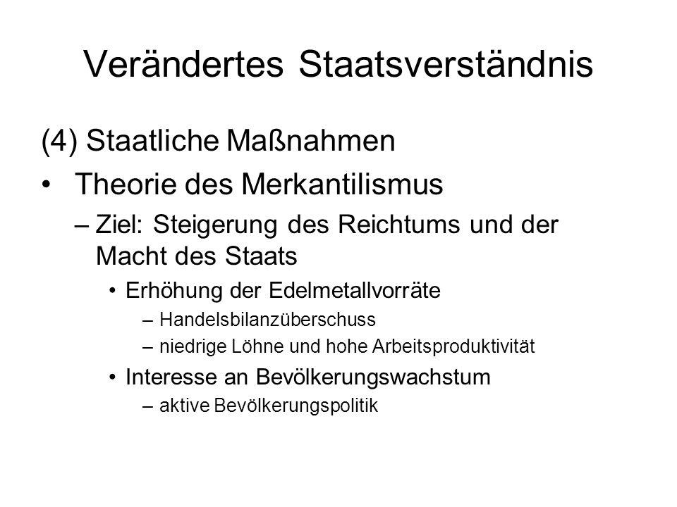 Verändertes Staatsverständnis (4) Staatliche Maßnahmen Theorie des Merkantilismus –Ziel: Steigerung des Reichtums und der Macht des Staats Erhöhung de