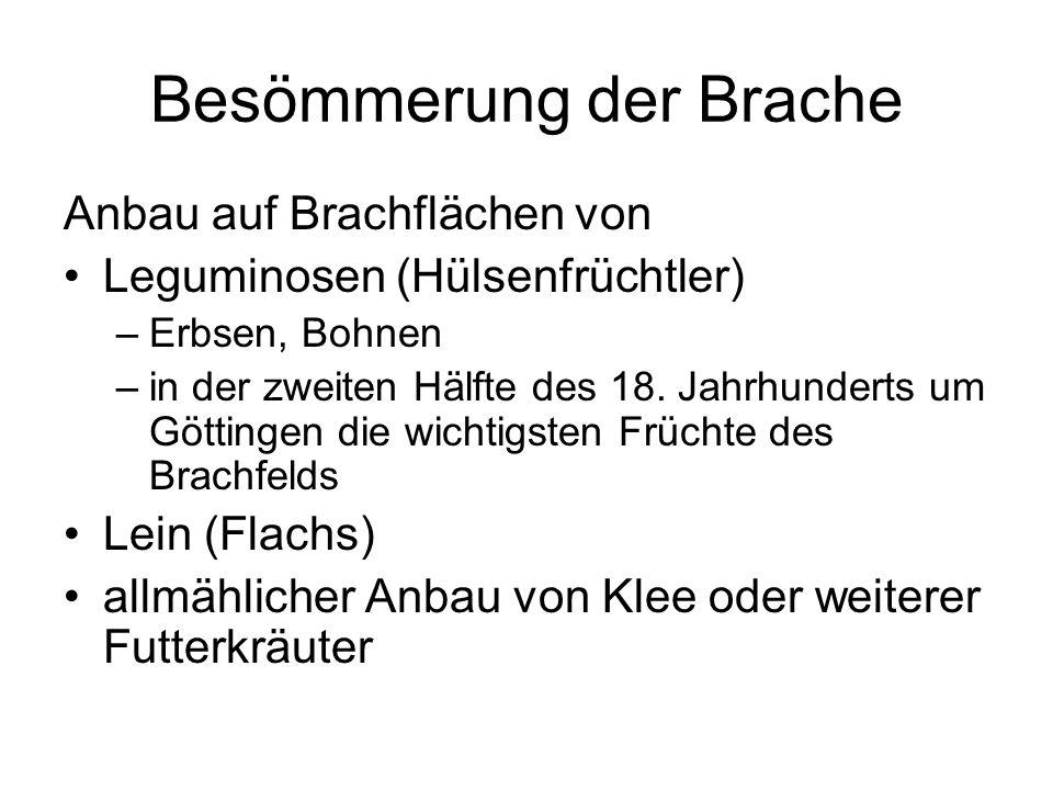 Anbau auf Brachflächen von Leguminosen (Hülsenfrüchtler) –Erbsen, Bohnen –in der zweiten Hälfte des 18. Jahrhunderts um Göttingen die wichtigsten Früc