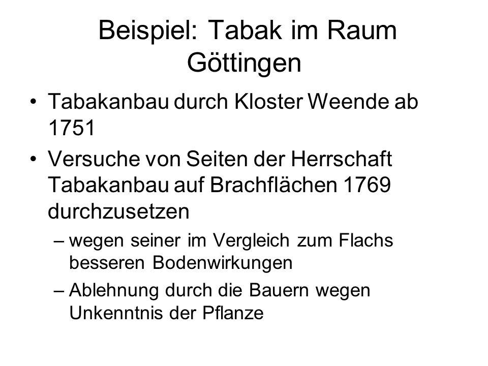 Beispiel: Tabak im Raum Göttingen Tabakanbau durch Kloster Weende ab 1751 Versuche von Seiten der Herrschaft Tabakanbau auf Brachflächen 1769 durchzus