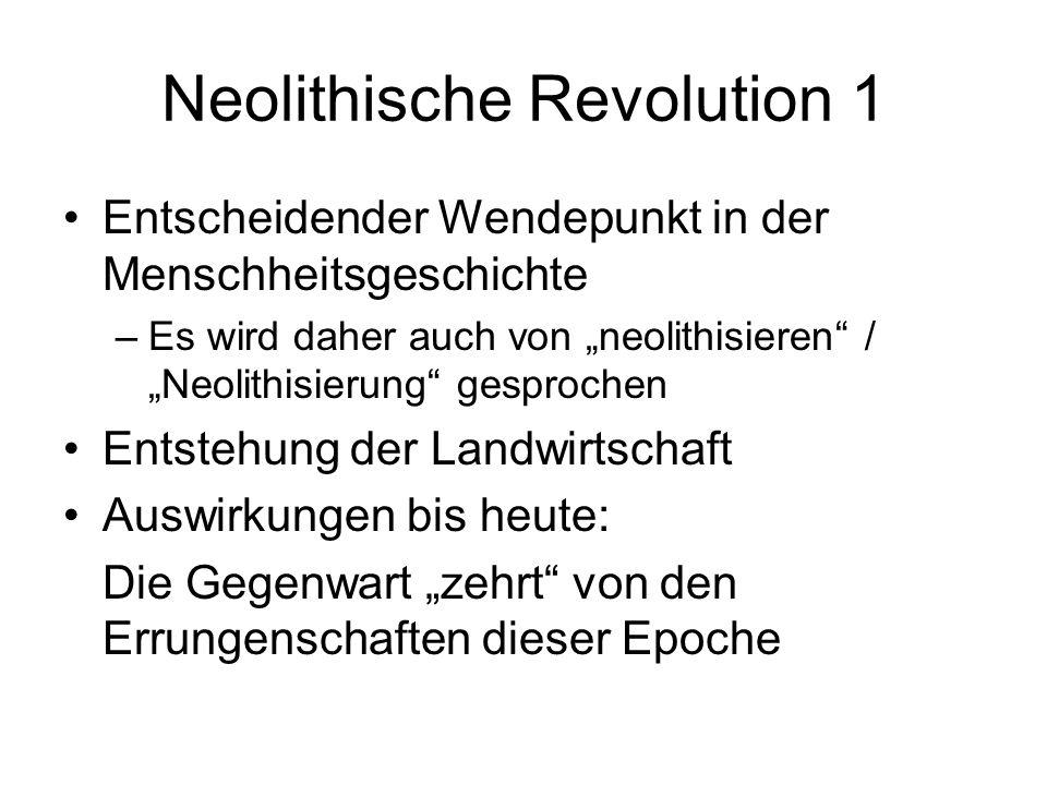 Neolithische Revolution 1 Entscheidender Wendepunkt in der Menschheitsgeschichte –Es wird daher auch von neolithisieren / Neolithisierung gesprochen E