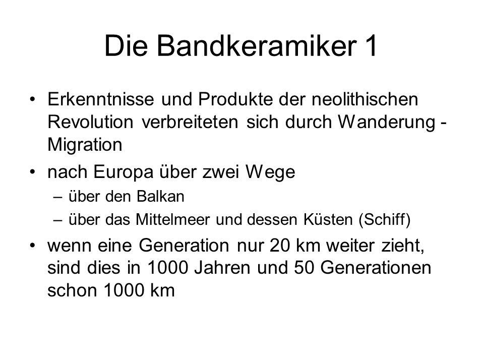 Die Bandkeramiker 1 Erkenntnisse und Produkte der neolithischen Revolution verbreiteten sich durch Wanderung - Migration nach Europa über zwei Wege –ü