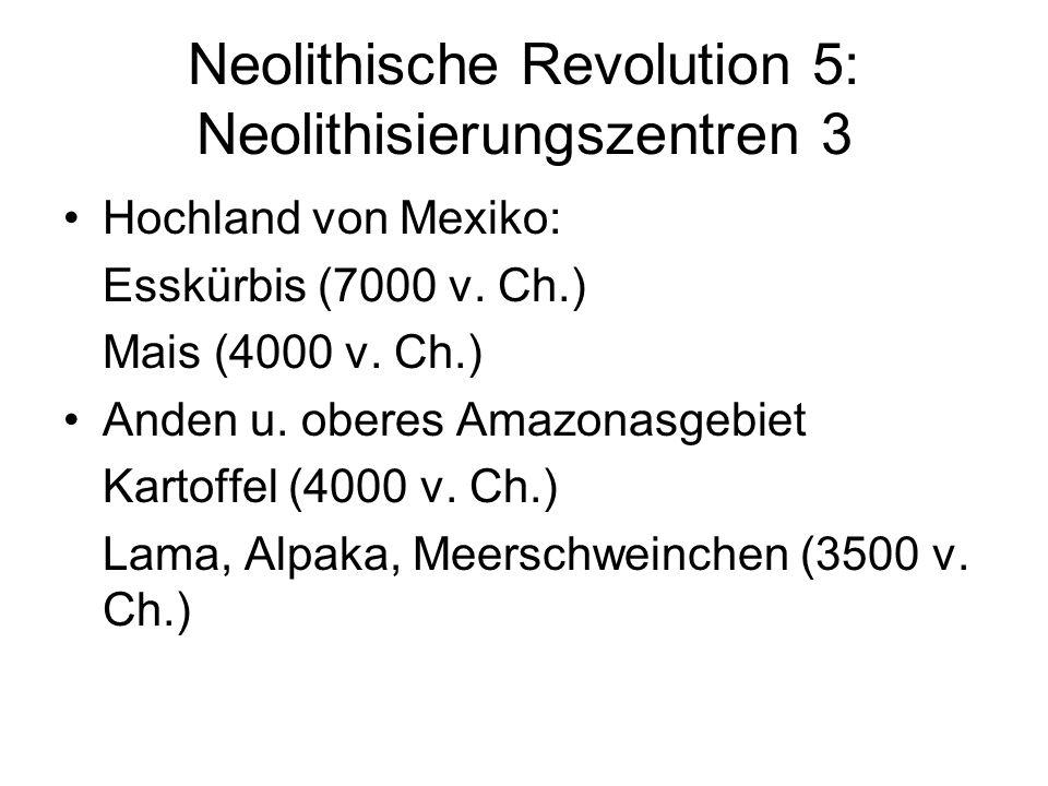 Neolithische Revolution 5: Neolithisierungszentren 3 Hochland von Mexiko: Esskürbis (7000 v. Ch.) Mais (4000 v. Ch.) Anden u. oberes Amazonasgebiet Ka