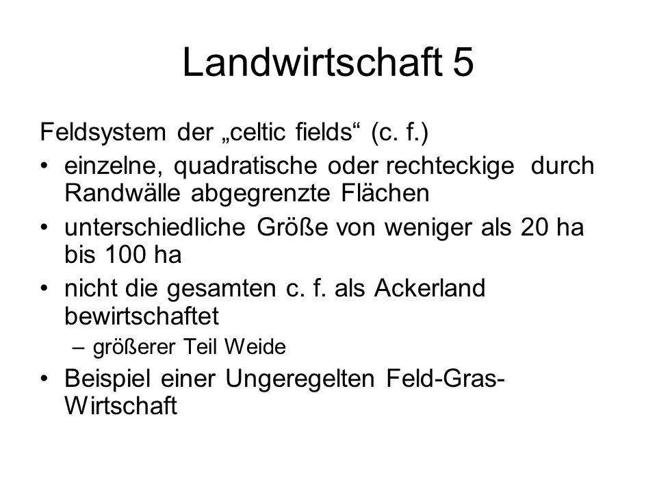 Landwirtschaft 5 Feldsystem der celtic fields (c. f.) einzelne, quadratische oder rechteckige durch Randwälle abgegrenzte Flächen unterschiedliche Grö