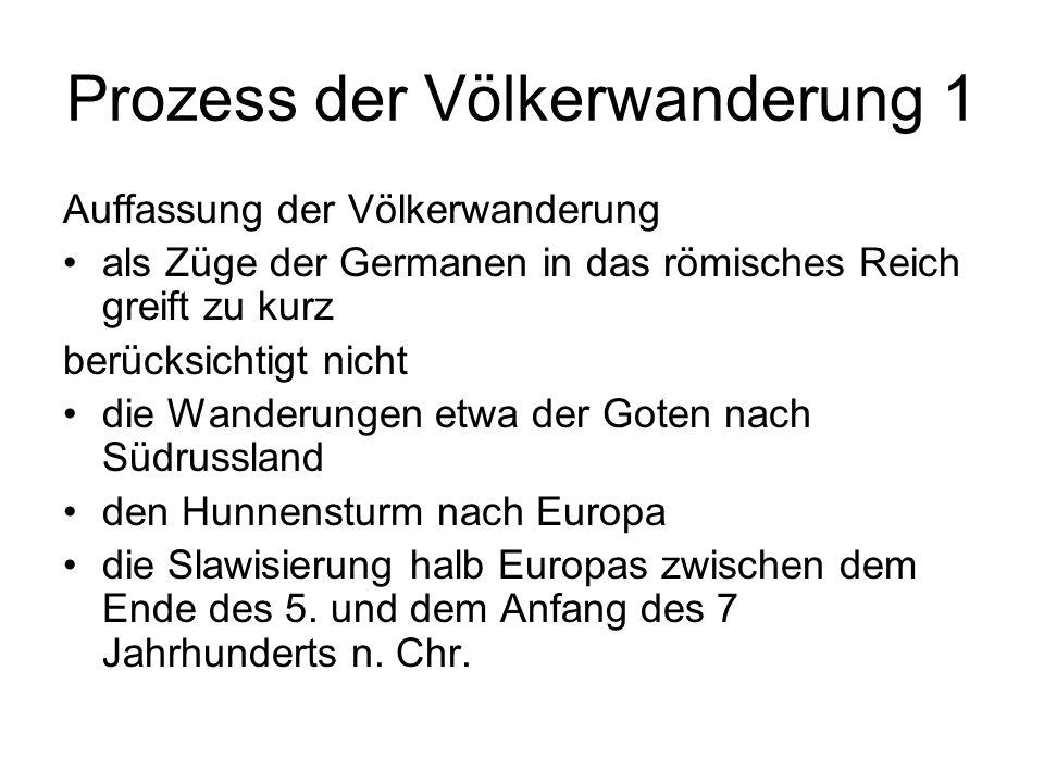 Prozess der Völkerwanderung 1 Auffassung der Völkerwanderung als Züge der Germanen in das römisches Reich greift zu kurz berücksichtigt nicht die Wand