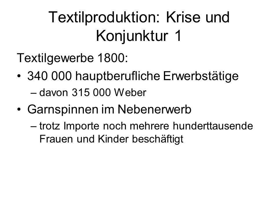 Textilproduktion: Krise und Konjunktur 1 Textilgewerbe 1800: 340 000 hauptberufliche Erwerbstätige –davon 315 000 Weber Garnspinnen im Nebenerwerb –tr
