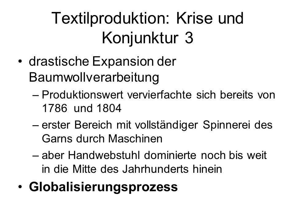Textilproduktion: Krise und Konjunktur 3 drastische Expansion der Baumwollverarbeitung –Produktionswert vervierfachte sich bereits von 1786 und 1804 –