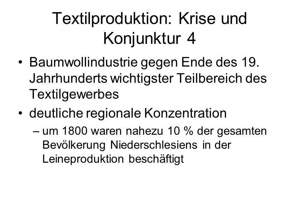 Textilproduktion: Krise und Konjunktur 4 Baumwollindustrie gegen Ende des 19. Jahrhunderts wichtigster Teilbereich des Textilgewerbes deutliche region