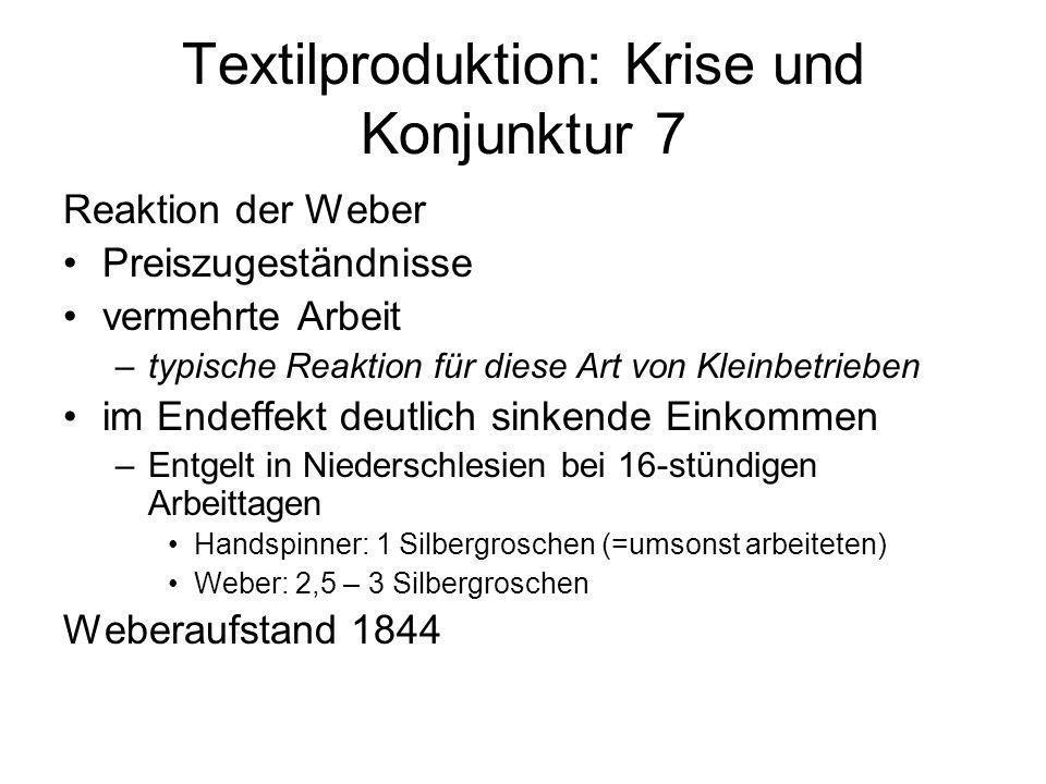 Textilproduktion: Krise und Konjunktur 7 Reaktion der Weber Preiszugeständnisse vermehrte Arbeit –typische Reaktion für diese Art von Kleinbetrieben i