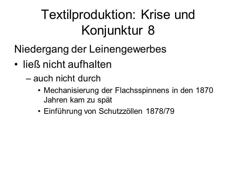 Textilproduktion: Krise und Konjunktur 8 Niedergang der Leinengewerbes ließ nicht aufhalten –auch nicht durch Mechanisierung der Flachsspinnens in den