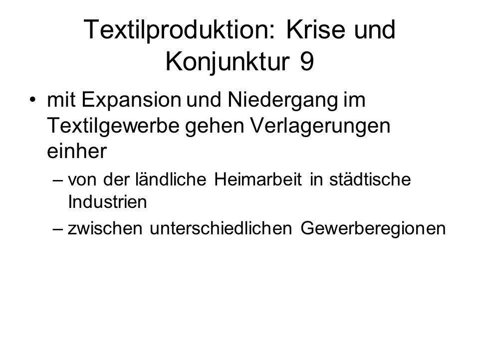 Textilproduktion: Krise und Konjunktur 9 mit Expansion und Niedergang im Textilgewerbe gehen Verlagerungen einher –von der ländliche Heimarbeit in stä