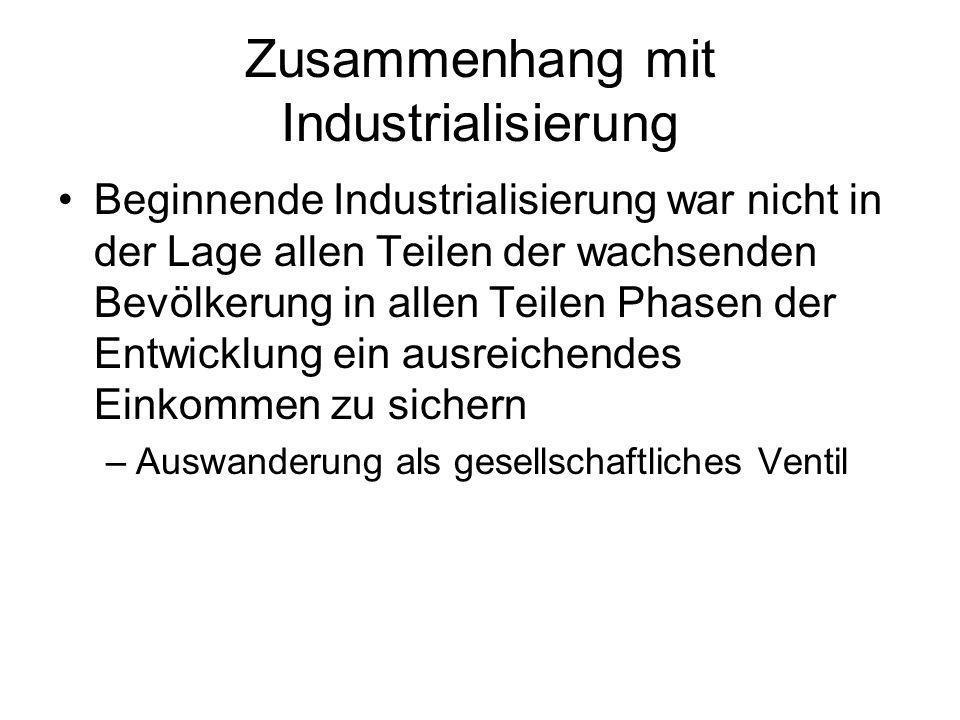 Zusammenhang mit Industrialisierung Beginnende Industrialisierung war nicht in der Lage allen Teilen der wachsenden Bevölkerung in allen Teilen Phasen