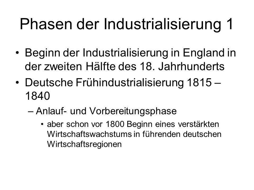 Phasen der Industrialisierung 1 Beginn der Industrialisierung in England in der zweiten Hälfte des 18. Jahrhunderts Deutsche Frühindustrialisierung 18