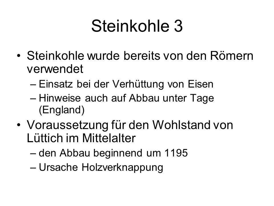 Steinkohle 3 Steinkohle wurde bereits von den Römern verwendet –Einsatz bei der Verhüttung von Eisen –Hinweise auch auf Abbau unter Tage (England) Vor