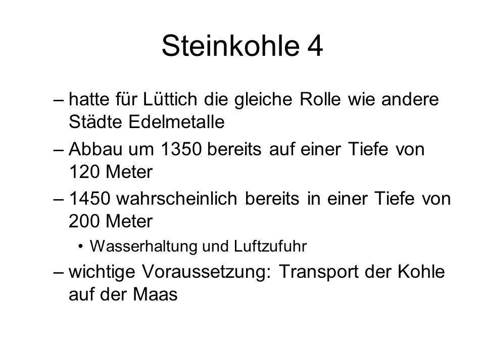 Steinkohle 4 –hatte für Lüttich die gleiche Rolle wie andere Städte Edelmetalle –Abbau um 1350 bereits auf einer Tiefe von 120 Meter –1450 wahrscheinl