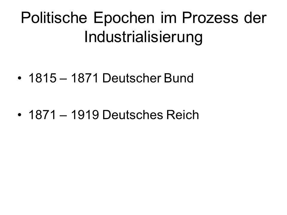 Politische Epochen im Prozess der Industrialisierung 1815 – 1871 Deutscher Bund 1871 – 1919 Deutsches Reich
