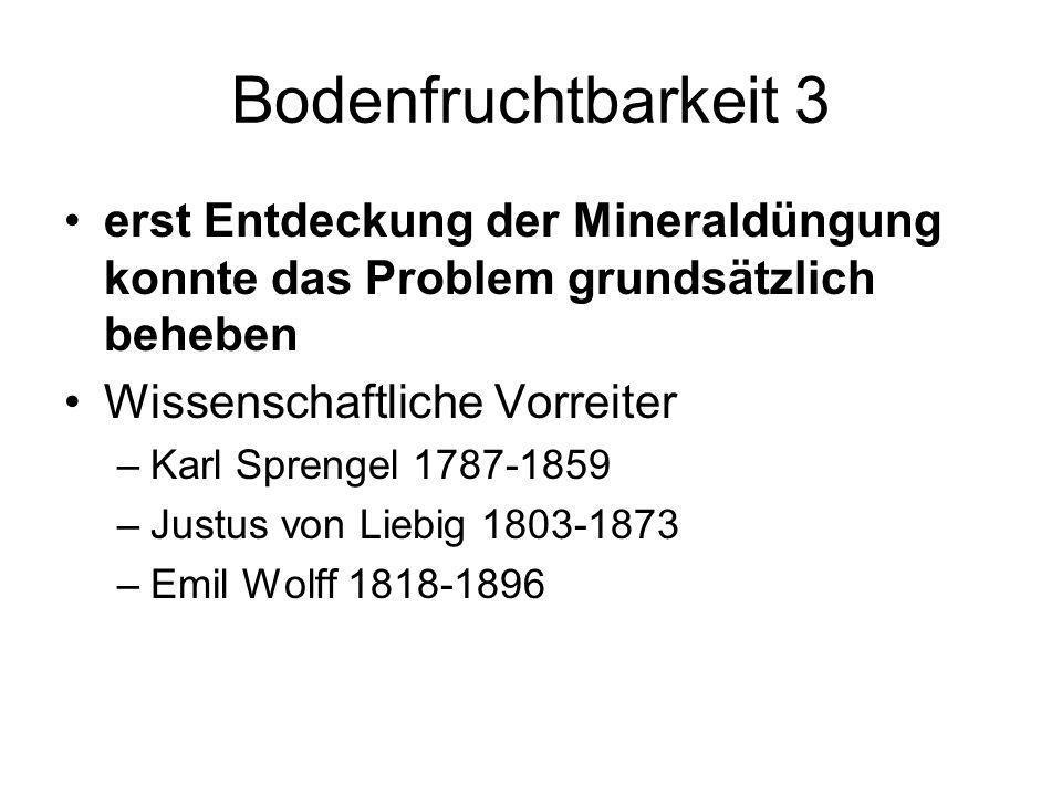 Bodenfruchtbarkeit 3 erst Entdeckung der Mineraldüngung konnte das Problem grundsätzlich beheben Wissenschaftliche Vorreiter –Karl Sprengel 1787-1859